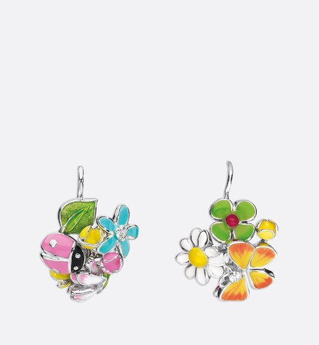 Diorette earrings in 18k white gold Multicolor aria_frontView