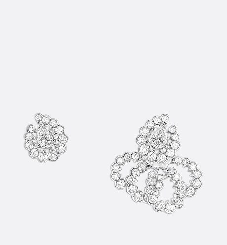 "Archi Dior ""Milieu du Siècle Diamant"" earrings in 18k white gold and diamonds front view"