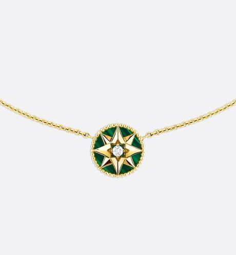 Click here to enlarge the product picture Rose des vents necklace, 18k yellow gold, diamond and malachite