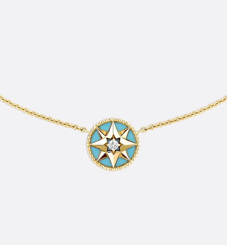 Rose des vents necklace, 18k yellow gold, diamond and turquoise front view