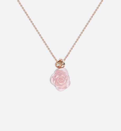 Click here to enlarge the product picture Rose Dior Pré Catelan necklace in 18k pink gold and pink quartz