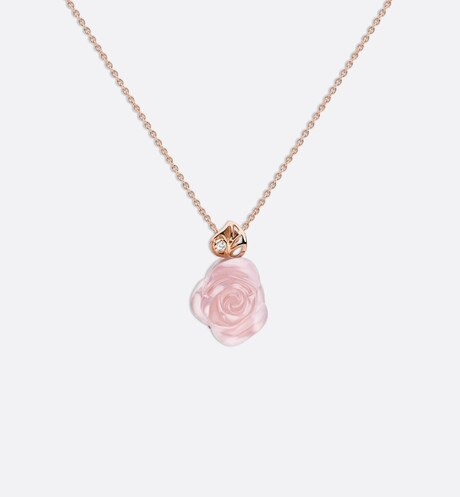 Rose Dior Pré Catelan necklace in 18k pink gold and pink quartz aria_frontView