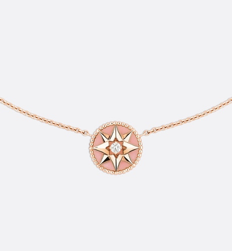 Rose des vents necklace, 18k pink gold, diamond and pink opal front view