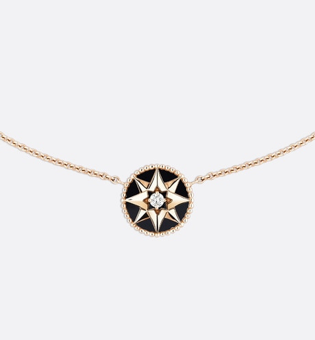 Rose des vents necklace, 18k pink gold, diamond and onyx Black aria_frontView