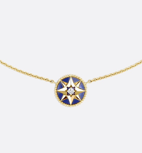 Rose des vents necklace, 18k yellow gold, diamond and lapis lazuli front view