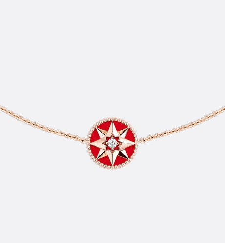 Collier Rose des vents, or rose 750/1000e, diamant et laque ceramique rouge Rouge aria_frontView