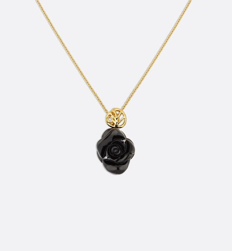 Collier Rose Dior Pré Catelan, or jaune 750/1000e et onyx Vue de face