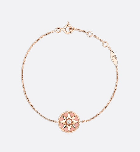 Click here to enlarge the product picture Rose des vents bracelet, 18k pink gold, diamond and pink opal