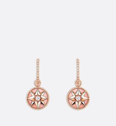 Rose des vents earrings, 18k pink gold, diamonds and pink opal aria_frontView