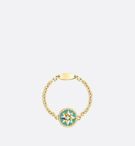 Click here to enlarge the product picture Rose des vents XS ring, 18K yellow gold, diamond and turquoise