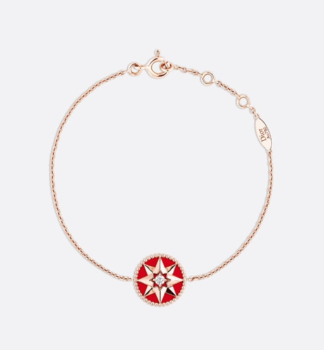 Rose des Vents bracelet, 18k pink gold, diamond and red lacquered ceramic front view