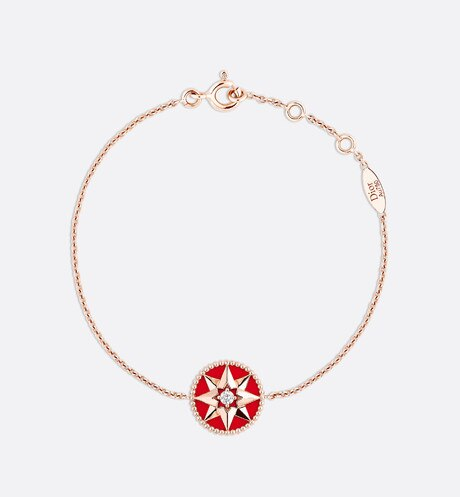Rose des vents bracelet, 18k pink gold, diamond and red lacquered ceramic Red aria_frontView