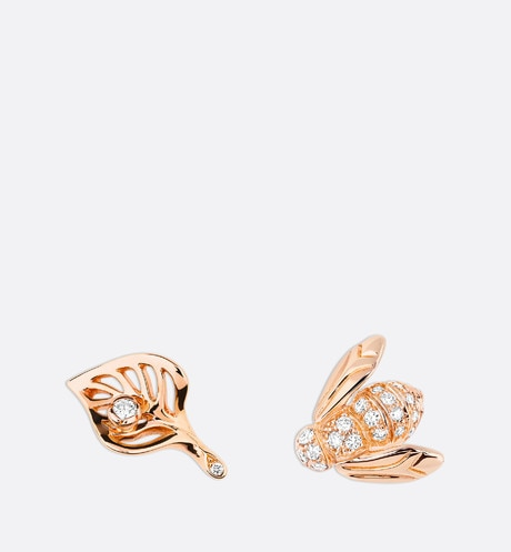 Rose Dior Pré Catelan earrings in 18k pink gold and diamonds front view