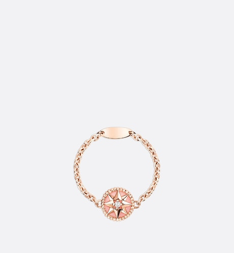Rose des vents XS ring, 18K pink gold, diamond and pink opal front view