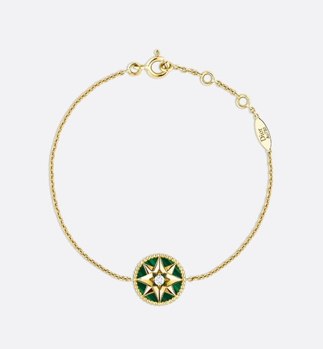 Rose des vents bracelet, 18k yellow gold, diamond and malachite Green aria_frontView