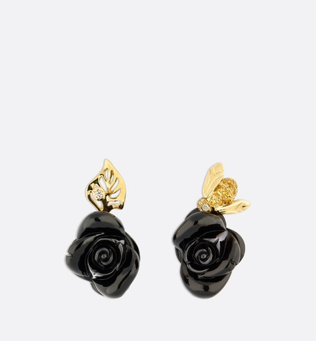 Rose Dior Pré Catelan earrings in 18k yellow gold and onyx Black aria_frontView