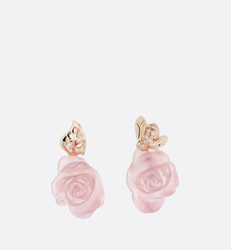Rose Dior Pré Catelan earrings in 18k pink gold and pink quartz aria_frontView