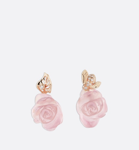 Rose Dior Pré Catelan earrings in 18k pink gold and pink quartz Pink front view