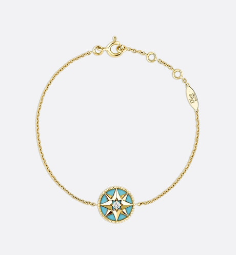 Click here to enlarge the product picture Rose des vents bracelet, 18k yellow gold, diamond and turquoise