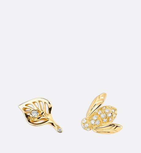 Rose Dior Pré Catelan earrings in 18k yellow gold and diamonds front view