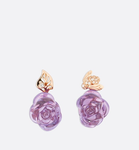 Rose Dior Pré Catelan earrings in 18k pink gold and amethysts Pink front view