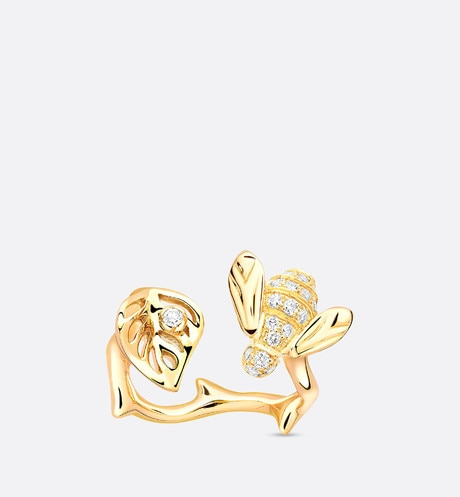 Rose Dior Pré Catelan ring in 18k yellow gold and diamonds aria_frontView