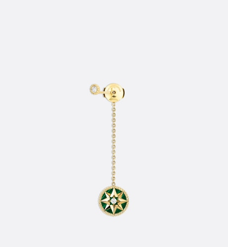 Rose des vents earring, 18k yellow gold, diamonds and malachite front view