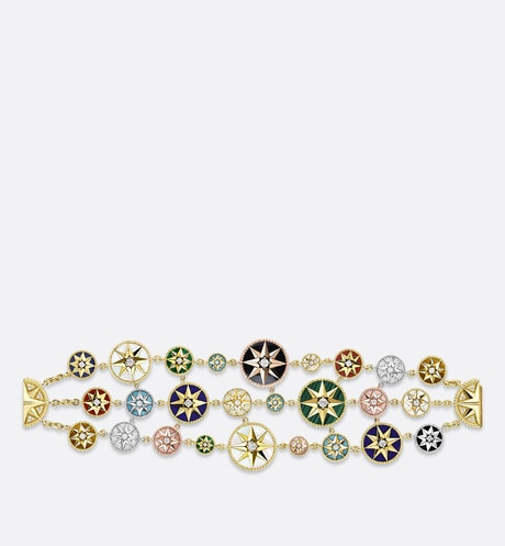 Rose des vents bracelet in 18K yellow, pink, and white gold, diamonds, and hard stones Multicolor aria_frontView