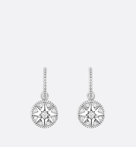 Rose des vents earrings in 18K white gold and diamonds White front view