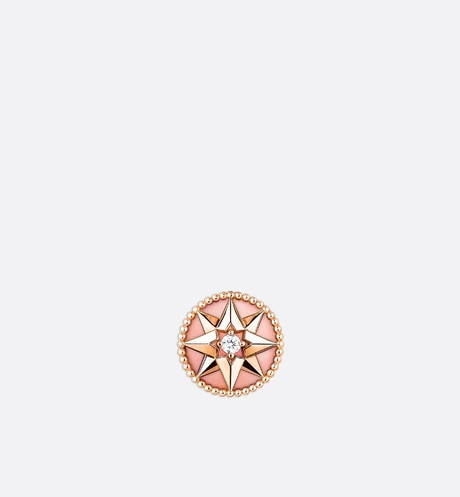 Rose des vents earring, 18k pink gold, diamond and pink opal Pink front view