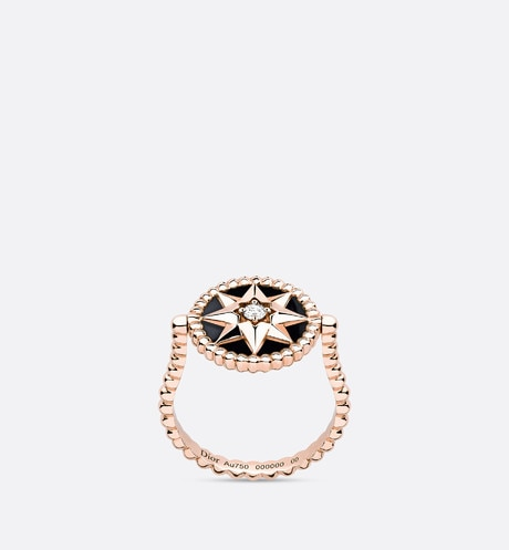 Rose des vents ring, 18k pink gold, diamond and onyx front view