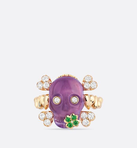 Click here to enlarge the product picture Tete de Mort Skull ring in 18K yellow gold, diamonds, amethyst and tsavorite garnets