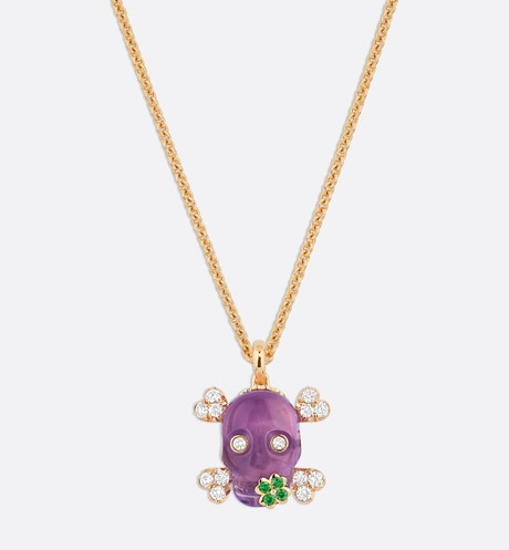 Tete de Mort Skull necklace in 18K yellow gold, diamonds, amethyst and tsavorite garnets aria_frontView