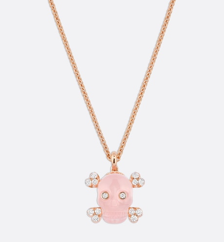 Collier Tête de Mort, or rose 750/1000 ͤ, diamants et quartz rose Rose aria_frontView