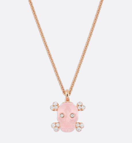 Tete de Mort Skull necklace in 18K pink gold, diamonds and pink quartz aria_frontView
