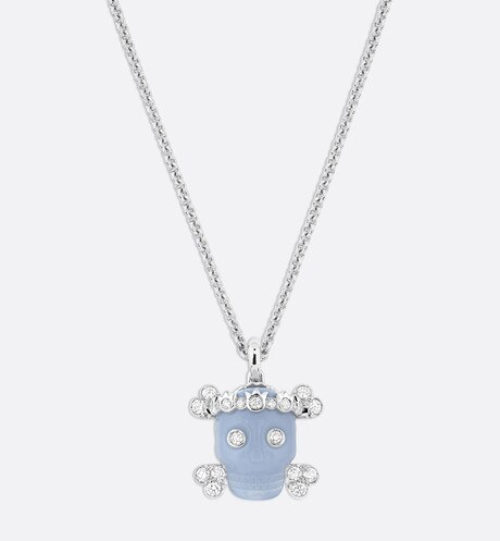 Tete de Mort Skull necklace in 18K white gold, diamonds and blue chalcedony aria_frontView
