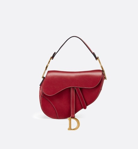 Saddle bag in red calfskin Red front view