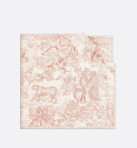 Click here to enlarge the product picture Pink Dioriviera Toile de Jouy Silk Square Scarf