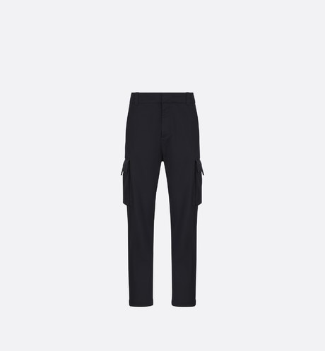 Navy Blue Stretch Cotton Gabardine Cargo Pants front view