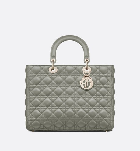 Large Gray Lady Dior Lambskin Bag aria_frontView