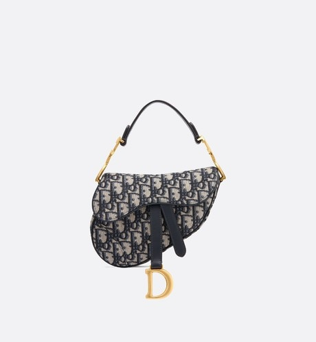 Mini Dior Oblique Saddle bag Blue front view