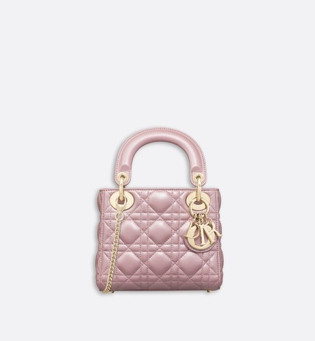 Mini Lady Dior lambskin bag Pink front view