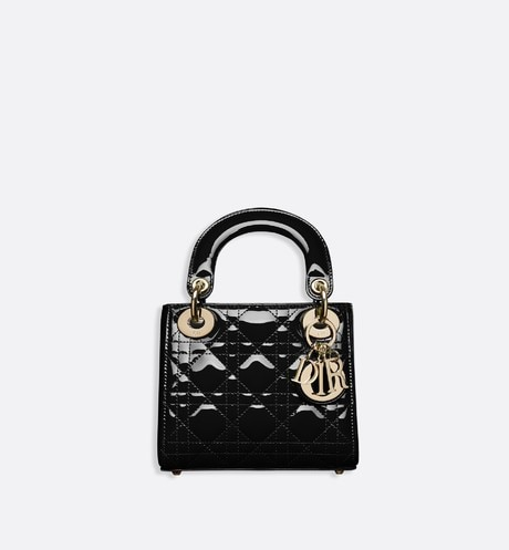 Mini Lady Dior calfskin bag Black front view
