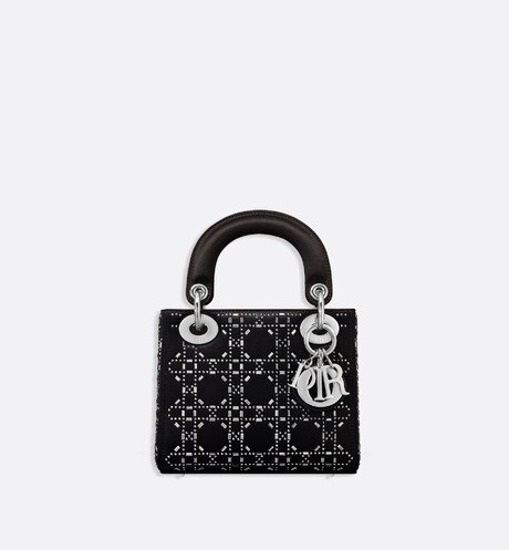 Mini Lady Dior satin bag Black front view