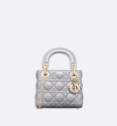 Mini Lady Dior lambskin bag Grey front view
