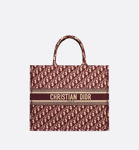 Click here to enlarge the product picture Burgundy Dior Oblique Embroidered Dior Book Tote