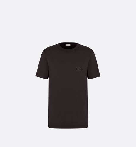 Click here to enlarge the product picture Black Cotton T-Shirt with 'CD Icon' Logo