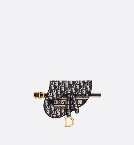 Blue Saddle Dior Oblique Pouch Belt front view