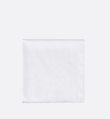 White cotton pocket square aria_frontView