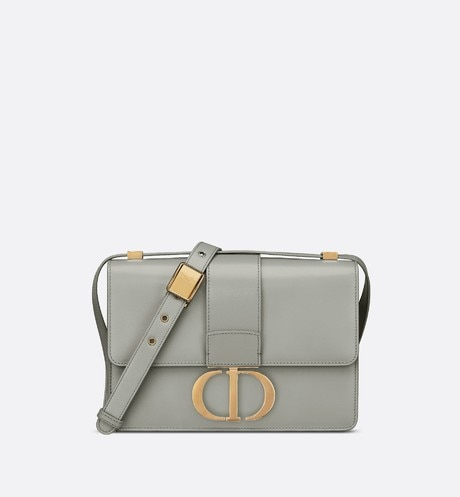 Gray Stone 30 Montaigne Box Calfskin Flap Bag aria_frontView